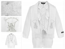 Baby Boy Christening Baptism/scarf Suit/6 pcs/ Size S to 7>Silver Angel Embroide