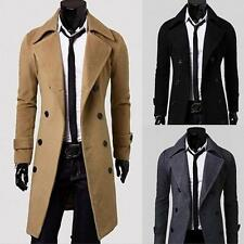 2016 Fashion Winter Mens Slim Stylish Trench Coat Double Breasted Long Jacket