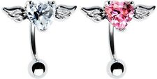 316L Surgical Steel Top Mount CZ Heart Angel Wing Navel Belly Ring