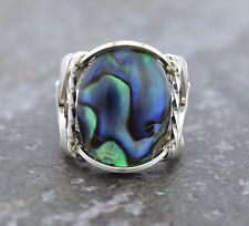Sterling Silver Abalone or Paua Shell Cabochon Wire Wrapped Ring