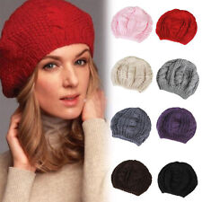Womens Ladys Warm Beret Braided Baggy  Knitted Crochet Beanie Hat Cap Winter Hat