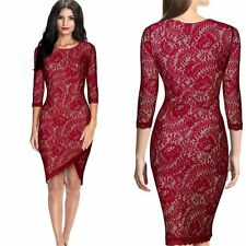 Sexy Women Lace Bodycon Bandage Evening Cocktail Party 3/4 Sleeve Pencil Dress