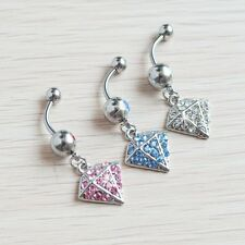 Surgical Steel 1 Pc Multi Paved Gem Diamond Dangle Navel Belly Ring 3 COLORS