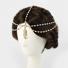 Womens Lovely Metal Rhinestone Head Chain Jewelry Headband Head Piece Hair Band&