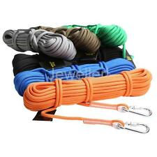 12KN 10M Safety Rope Climbing Sling Rappelling Auxiliary Rope with 2 Carabiners