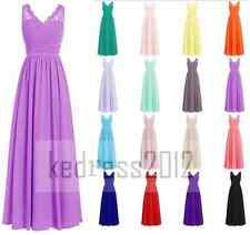 Stock Lace/Chiffon Long Bridesmaid Formal Prom Party Ball Evening Dress Sz 6-22+