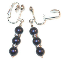 NIGHT BLUE Pearl Earrings Swarovski Crystal Elements Sterling Silver Dangle