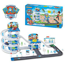Cute Paw Patrol Parking Lot Playground 4pcs Pups Car Action Figure Doll Kids Toy