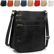 Faux Leather Ladies Messenger Cross Body Bag Women Shoulder Vintage Handbag UK
