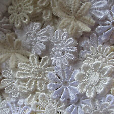 Assorted WHITE/CREAM 15-25mm Guipure Lace Daisy Motifs Sew On Flower Appliques