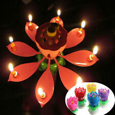 Romantic Musical Lotus Flower Rotating Happy Birthday Party Candle Lights hot