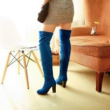 Faux suede Women Over The Knee Thigh High Leg Knee block Heel Boot Party Shoes
