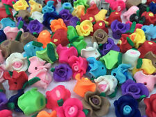 Many colors! 13*10mm Pretty Mixed Polymer Fimo Clay Flower Spacer Loose Beads