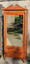 A Great C19th French Inlaid Pine Single Door Mirror Fronted Armoire Wardrobe