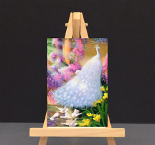 ACEO,WHITE PEACOCK&BIRDS IN POND, ART PRINT FROM ORIGINAL WATERCOLOR