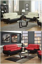 The Room Style Contemporary Bonded Leather Sofa & Loveseat Set
