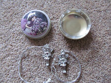 Pair of pewter fairy charms in a fairy box