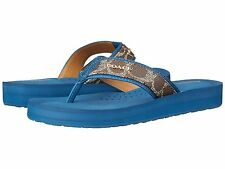 COACH Judy Women Signature C Thong Sandals (A7826) Brown Denim Blue 7.5, 8.5 New