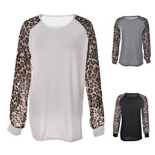 Women Leopard Printed Chiffon Long Sleeve T Shirt Top Loose Casual Blouse TopsJB