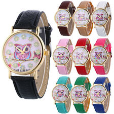 Fashion Women Watch Owl Pattern Flower Leather Strap Analog Quartz Wrist Watches