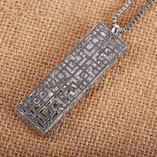 Long chain Hollow  Pendant  Crystal  rectangle  Necklace  Statement  Fashion