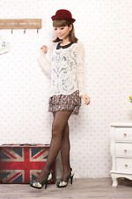 Semi Sexy Sheer Sleeve Embroidery Floral cotton Crochet Blouse Tee Top T Shirt N