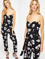 Miss Selfridge Black Floral Print Bandeau Jumpsuit Size 4 to 16