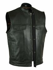 Mens Motorcycle Biker  Premium Soft Leather Vest,W/SNAP & ZIPPER