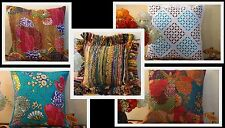 Jaipuri Kantha Patch Colorful work Throw Pillow Case Cushion Cover Home Decor