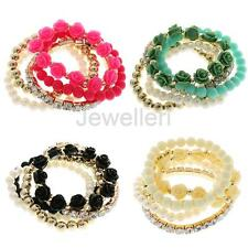 Chic Fashion Women Crystal Rhinestone Elastic Bangle Multilayer Beads Bracelet