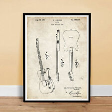 FENDER TELECASTER GUITAR 1951 PATENT PRINT POSTER VINTAGE ELECTRIC LEO NEW GIFT