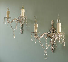 PRETTY PAIR FRENCH VINTAGE CHIC SILVER CRYSTAL WALL LIGHTS CHANDELIERS - rewired