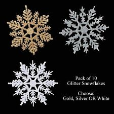 Christmas Decoration 10 Pack Glitter Snowflakes - Silver Gold or White