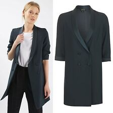 TOPSHOP Soft Tailored Blazer Jacket Dress in Navy Blue Size 4 to 16