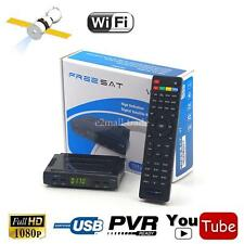 DVB-S2 HD Audio Digital Satellite Receiver TV Box Wifi Key USB PVR + HDMI Cable