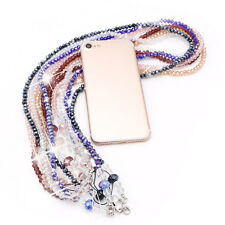Pearls Long Neck Strap Lanyard KeyRing Keychain Holder Necklace For Mobile Phone