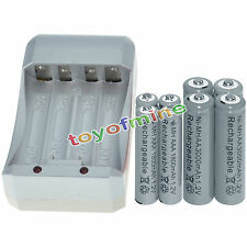 4x AA 3000mAh+4x AAA 1800mAh 1.2V NI-MH GREY Color Rechargeable Battery+Charger