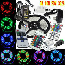 5M 10M 20M 3528 SMD In/Outdoor LED Strips Lights Tape Stripe+12V Power+Remote IR