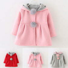 Fashion Bunny Ear Cotton Hooded Coat Kids Girls Winter Outerwear Coat