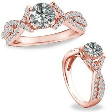 1.15 Carat Diamond Crossover Solitaire Wedding Bridal Ring Band 14K Rose Gold