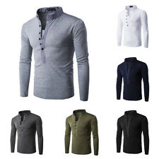 Fashion Men's Long Sleeve Casual T Shirts Henry Collar Slim Fit T-Shirt Tops New