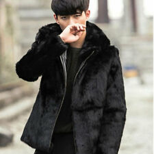 Winter Warm Men Faux Rabbit Fur Coats Black Leather Hooded Fur Jackets Leisure