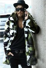 New Winter Faux Fur Men Rabbit Fur Coat Camouflage Warm Coat In The Long Section