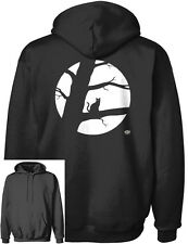 Cat Moon Tree Men's Hanes Pullover Hoodie Black Halloween Cat