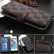 Luxury Deluxe Grid Wallet Flip Leather Stand Card Case Cover for iPhone/Samsung