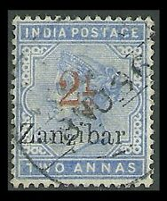 Zanzibar : 1895 India QV 2½/2a SCARCE with VARIETIES .