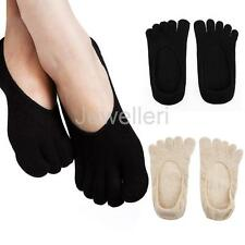 Pair Non-slip Invisible Women Socks Low Cut Shallow Mouth Boat Five Finger Socks
