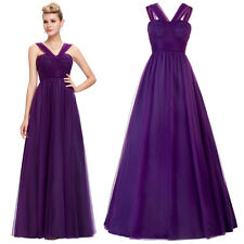 Purple Sexy Long Prom Dress Tulle Formal Pageant Prom Evening Cocktail Ball Gown
