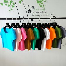 Fashion Women Short Sleeve Crop Tops Yoga Casual Blouse Vest T-Shirt Tee Solid