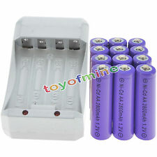 12 AA Purple Rechargeable Batteries NiCd 2800mAh 1.2v Solar Light + Charger